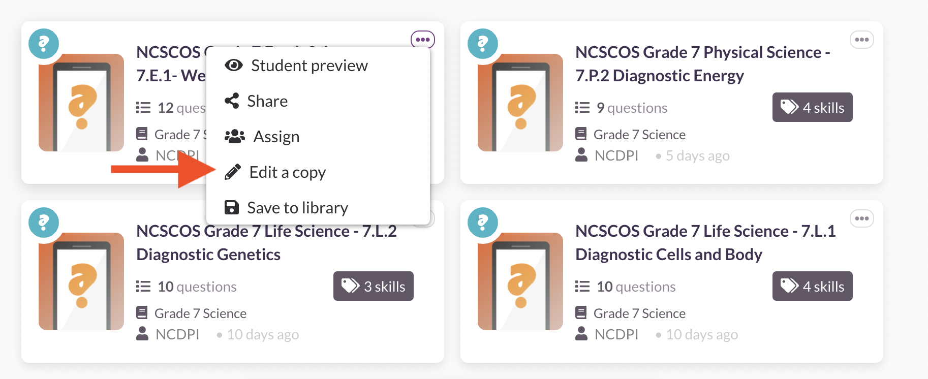 Saving diagnostic quizzes to your library
