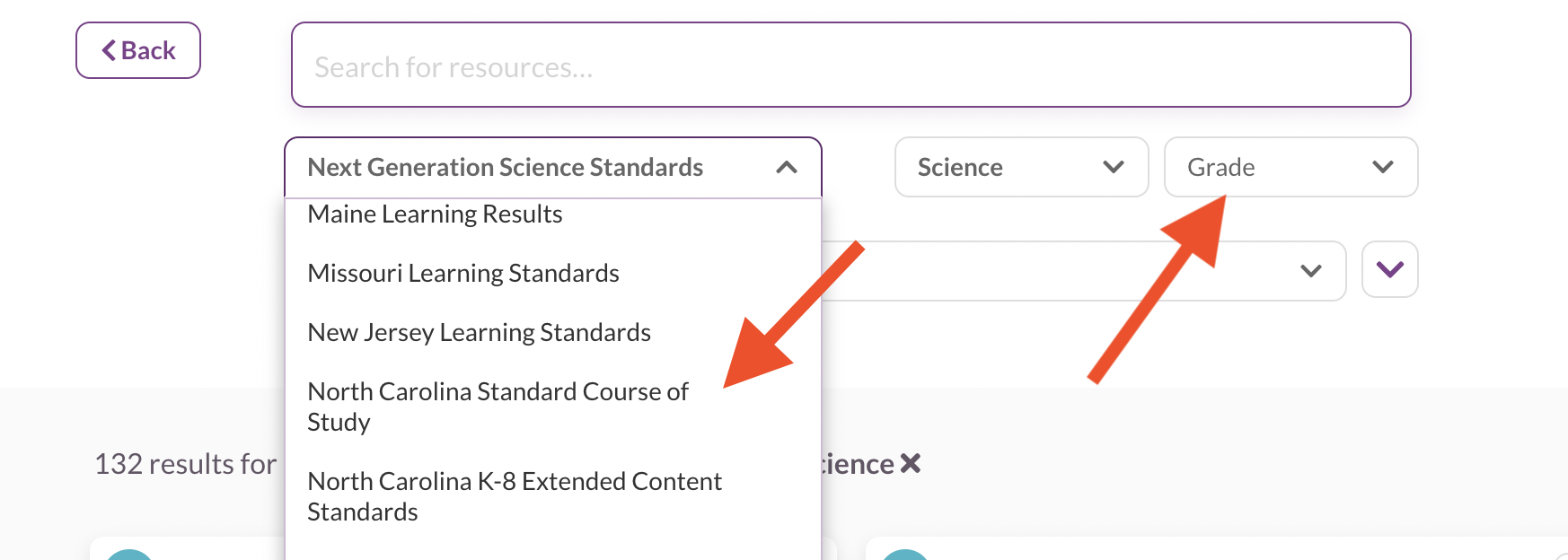 Searching for science diagnostic quizzes using filters