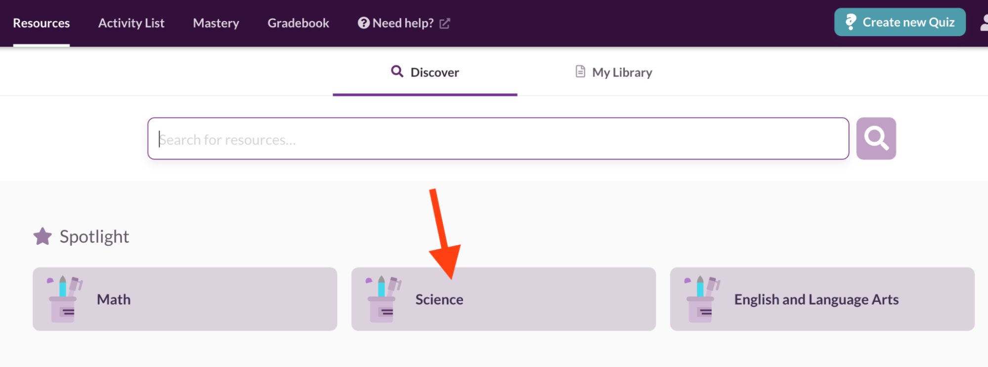Searching for science diagnostic quizzes using the search bar